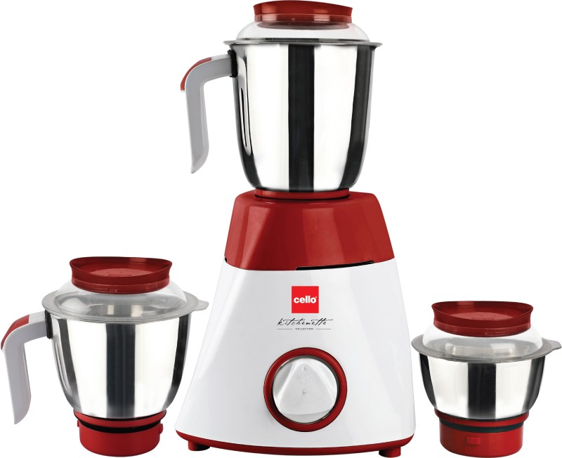 Cello Safari 750-Watt Mixer Grinder with 3 Jars (Maroon/White) 750 Mixer Grinder(White, Maroon, 3 Jars)
