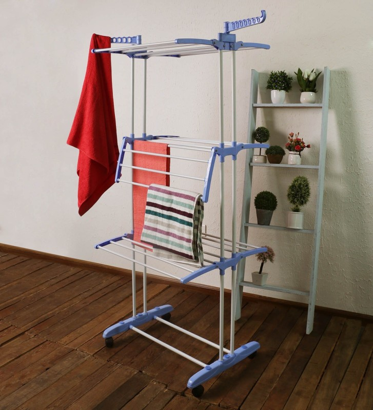 Flipzon 2 Poll Heavy Multi Layer Stainless Steel Premium Cloth Drying Stand - 2 Poll - 3 Layer - 6 Hangers with Wheels - Blue & White Iron Floor Cloth Dryer Stand(Multicolor)