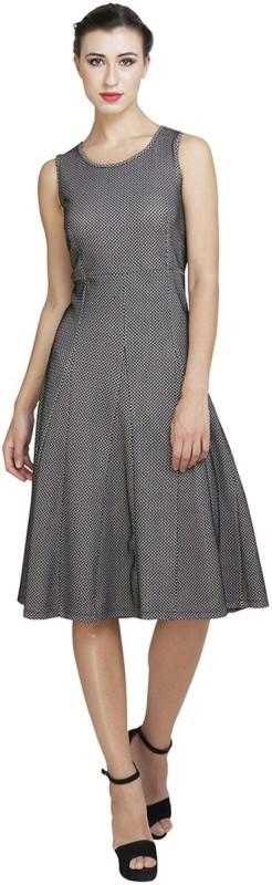 Favish Women Fit and Flare Black Dress