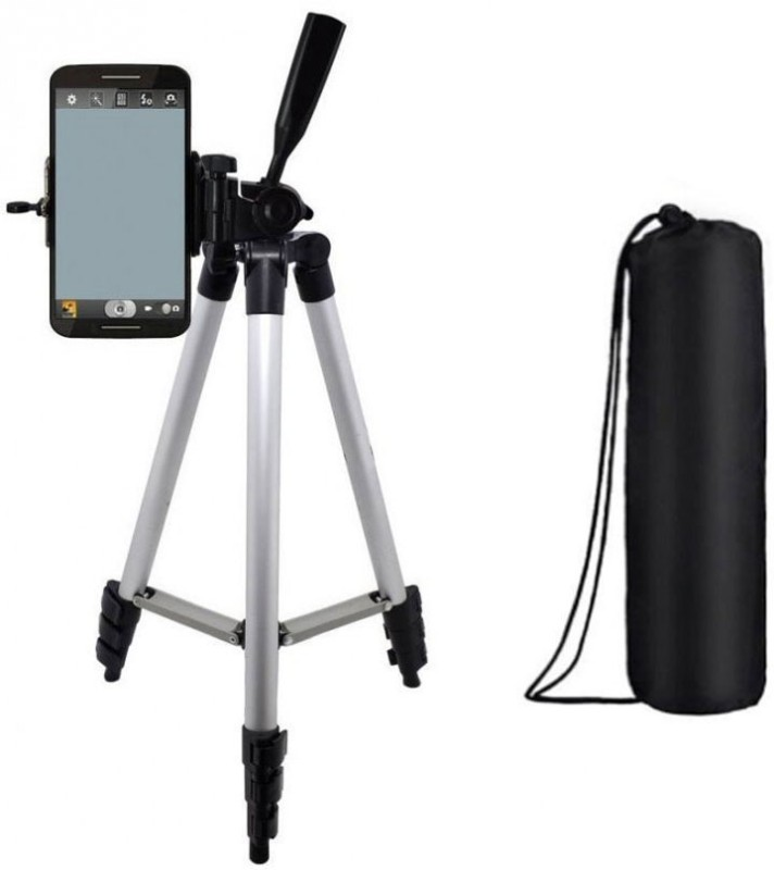 Blue Birds Adjustable Aluminium Lightweight Camera Stand Tripod-3110 With Three-Dimensional Head & Quick Release Plate For Video Cameras and mobile clip holder for Mobiles & Smartphones Tripod(Silver, Black, Supports Up to 1500 g)