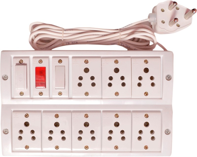RUHAILA 8 -5 pin socket with fuse 4 meter heavy wire with 15 Amp plug 8  Socket Extension Boards(White)