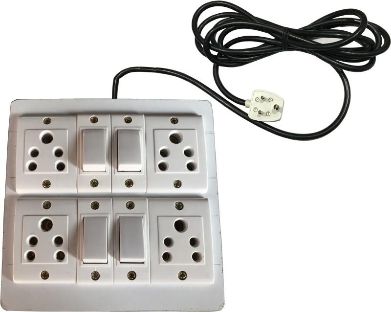 Saifpro Eletecric Wooden Extension Board (4 Socket,4 Switch)5 A 3 Meteres Wires 4  Socket Extension Boards(White)