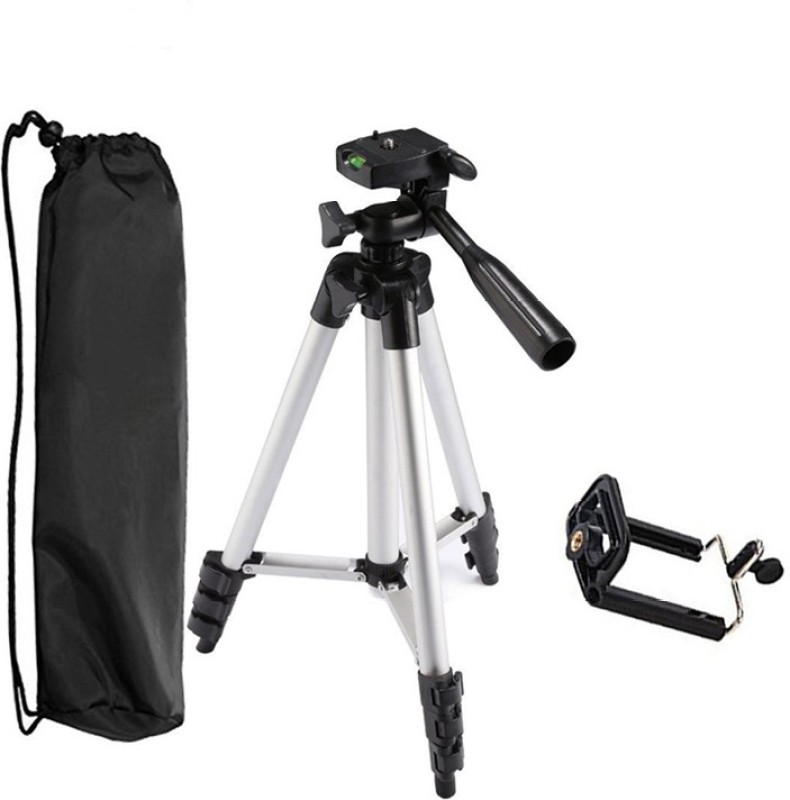 LIFEMUSIC Flexible and Foldable Camera Tripod with Mobile Holder Bracket Standwith 3D Head & Quick Release Plate Tripod-3110 Portable Adjustable Aluminum Lightweight Camera Stand With Three-Dimensional Head & Quick Release Plate For Video Cameras and mobile Tripod // Portable & Foldable Camera - Mob