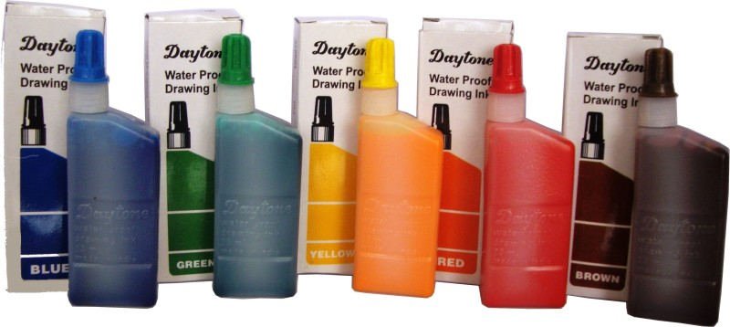Daytone Water Proof Drawing Ink Set of 5 Colors Ink Bottle(Pack of 5)