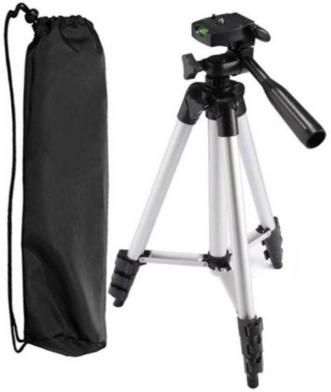AMJ Genuine Quality Tripod-3110 Metal Extendable Tripod Stand Lightweight Camera Stand With Three-Dimensional Head & Quick Release Plate For Cameras Camcorders and mobile holder Tripod ST012 Tripod Kit(Silver, Black, Supports Up to 1500)