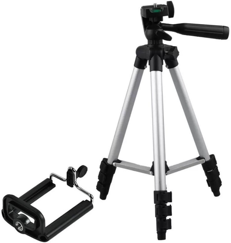SULFUR 3110 Foldable Camera Tripod with Mobile Clip Holder Bracket, Fully Flexible Mount Cum Tripod, Standwith 3D Head & Quick Release Plate {Silver} Tripod Tripod Kit, Tripod Bracket(Silver, Black, Supports Up to 1500 g)