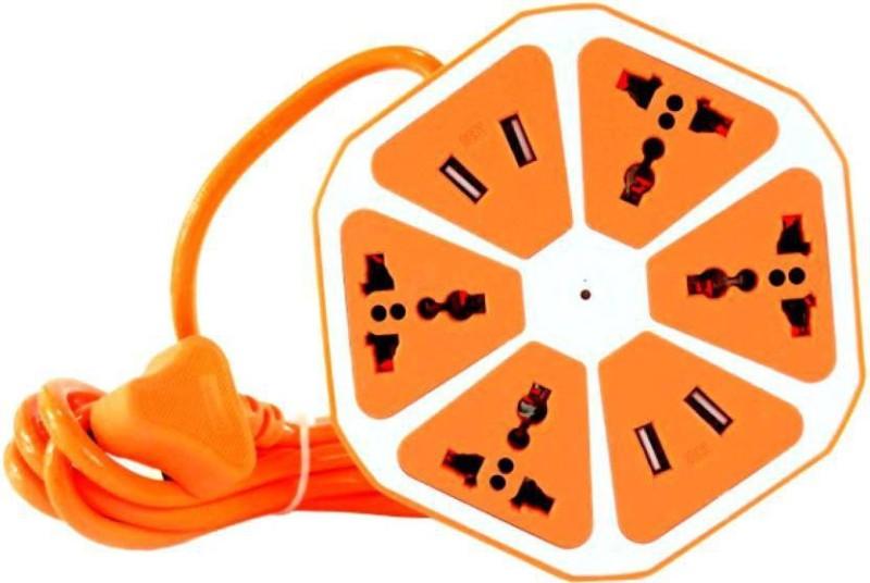 blueseed USB Charger Power Multi Switch Socket Universal 4 Port 2.1 Amp 4x Extension Board USB Hub (Orange) 4  Socket Extension Boards(Orange)