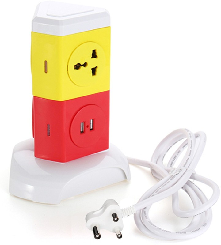 Impro 3 Plugs + 2 USB Tower Power Sockets Spike Buster - 2 Floors Vertical - Surge Protector - Universal Multi Plug Points Adapter - High Quality 1  Socket Extension Boards(Yellow, Red)