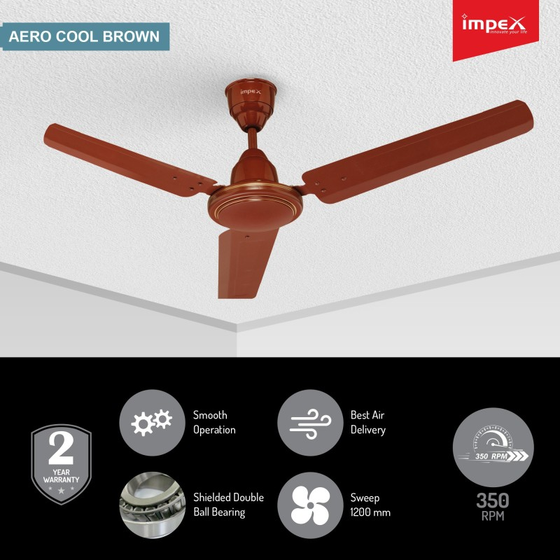 Impex Aero Cool 1200 mm 3 Blade Ceiling Fan(Brown, Pack of 1)