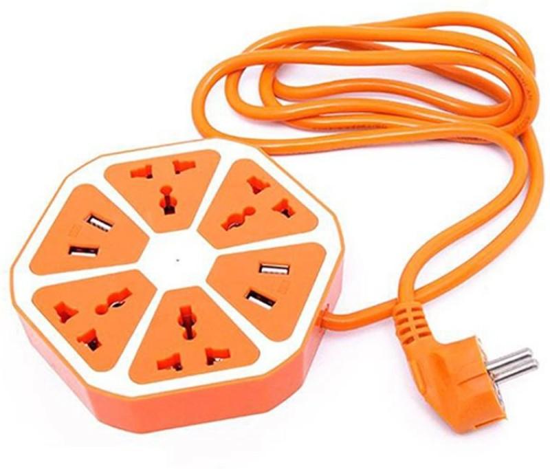 footloose Extension Board Multi Switched USB Socket 4  Socket Extension Boards(Orange)