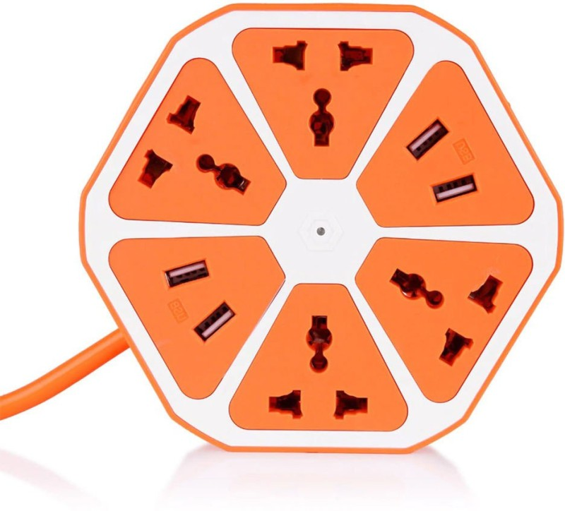 footloose USB Hexagon Socket for All Types of Electronic Items with 4 USB Ports and 4 Socket,1.8m Cable Three Pin Socket 4  Socket Extension Boards(Multicolor)