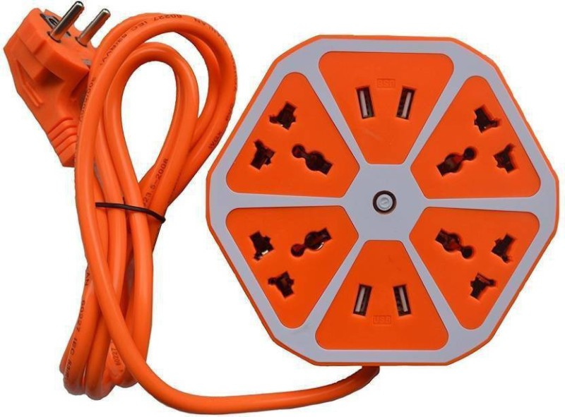 PHOLOR Hexagon Extension board with 4 USB 2.0 Amp charging point 4 4  Socket Extension Boards(Orange)