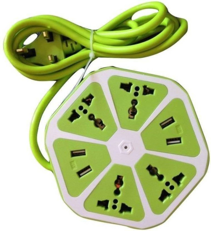 ABC WARRIORS Hexagon Socket Extension board with 4 USB 2.0Amp charging point -- PowerCube Socket EU Plug 4 Outlets+4 USB Ports Adapter with 1.7m Cable Extension Adapter Multi Switched Socket NF02 4  Socket Extension Boards(Green)