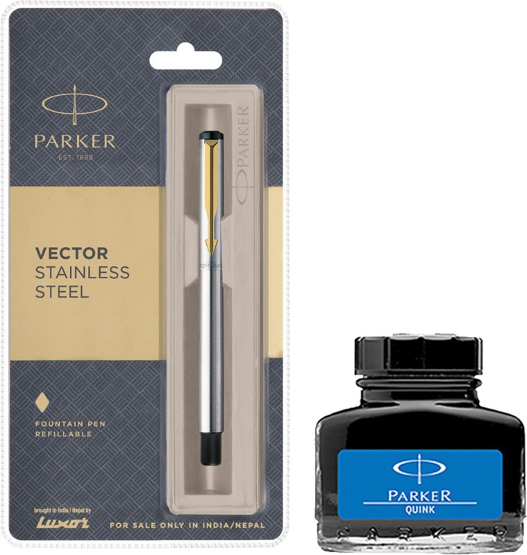Parker Vector Stainless Steel GT Fountain Pen with Blue Quink Ink Bottle(Pack of 2)