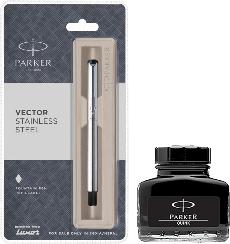 Parker Vector Stainless Steel CT Fountain Pen with Black Quink Ink Bottle(Pack of 2)