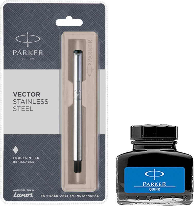 Parker Vector Stainless Steel CT Fountain Pen with Blue Quink Ink Bottle(Pack of 2)