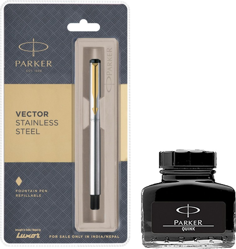 Parker Vector Stainless Steel GT Fountain Pen with Black Quink Ink Bottle(Pack of 2)