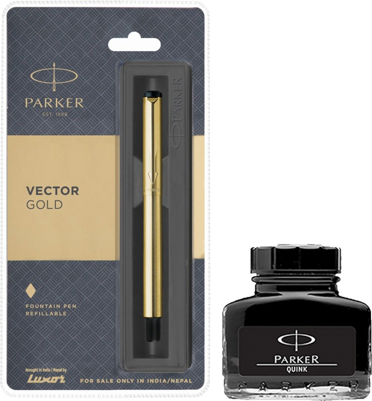 Parker Vector Gold GT Fountain Pen with Black Quink Ink Bottle(Pack of 2)