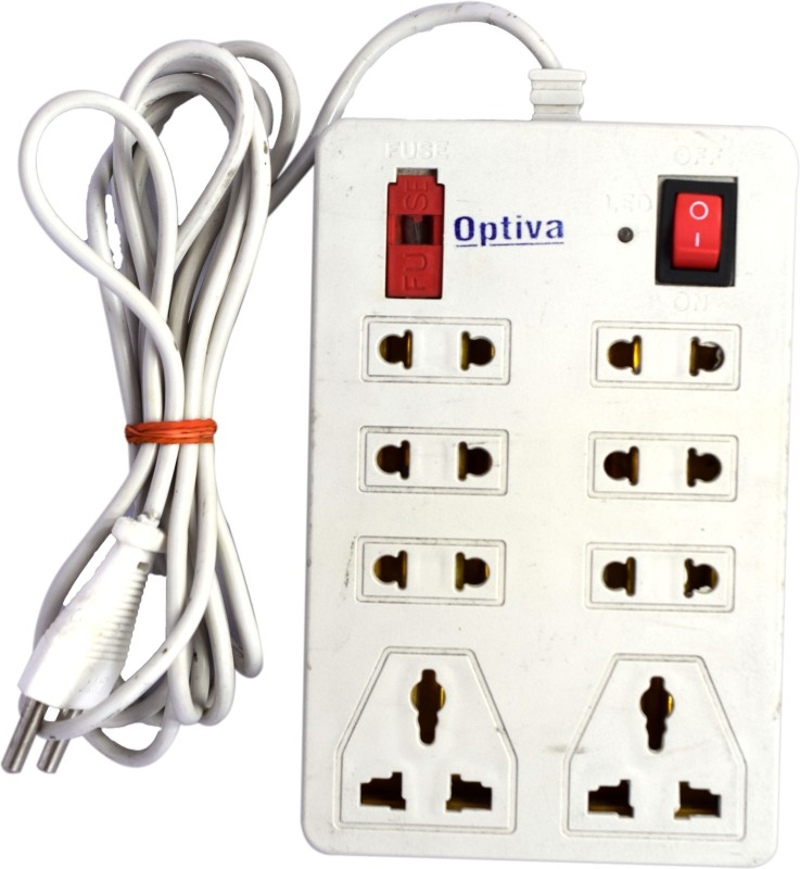Optiva Extension Board 2 Meter Long Wire 8  Socket Extension Boards(White)