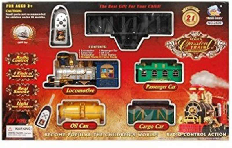 shubh collection Classical Battery Operated Radio Control Smoke Train set (21 Pcs)(Multicolor)