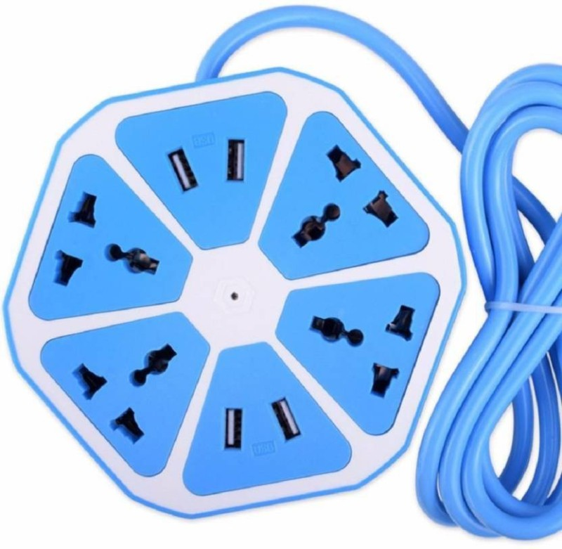 PHOLOR Hexagon Socket Power Strip with USB Charger 4  Socket Extension Boards(Blue)