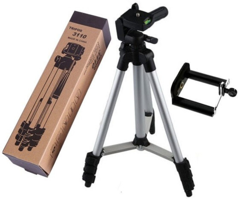 LIFEMUSIC Tripod-3110 with Holder Mount For mobiles Portable Adjustable Tripod(Silver & Black, Supports Up to 1500 g)