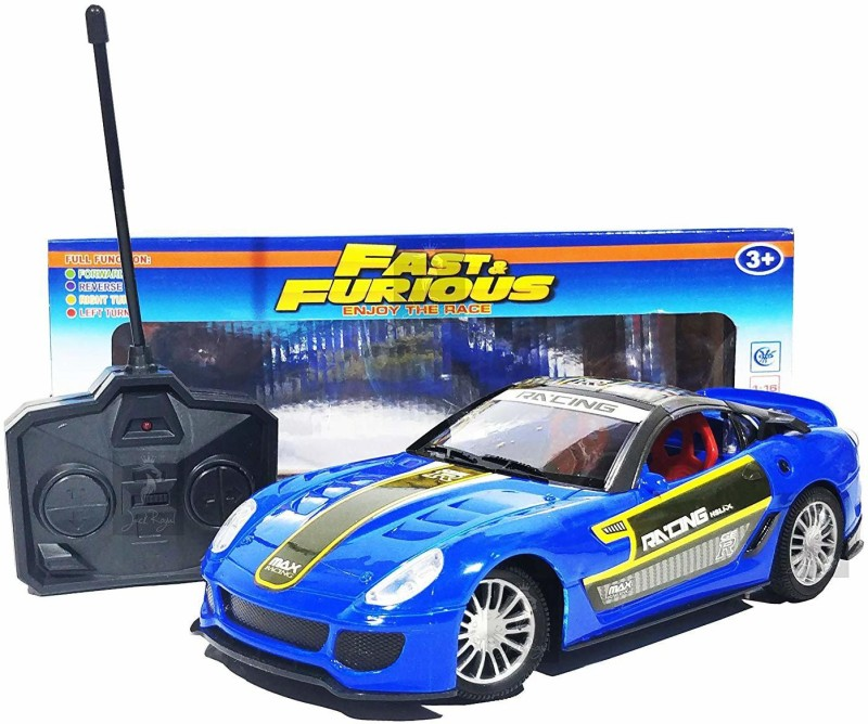 Kashti Fast & Furious 1:16 Radio Control Car with 4*AA Batteries and Charger for Car (Blue)(Multicolor)