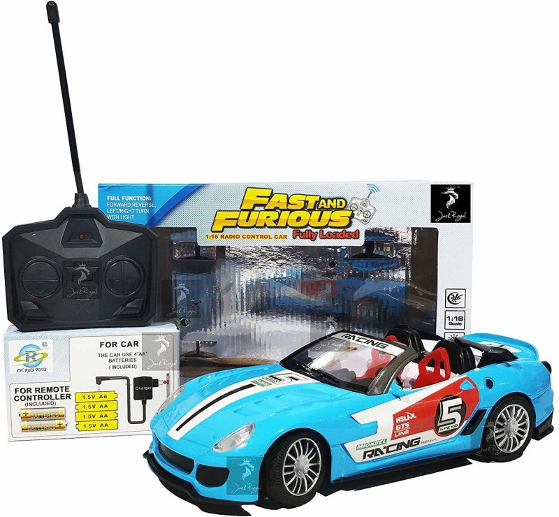Kashti Fast & Furious 1:16 Radio Control Car with 4*AA Batteries and Charger for Car (Sky Blue California)(Multicolor)