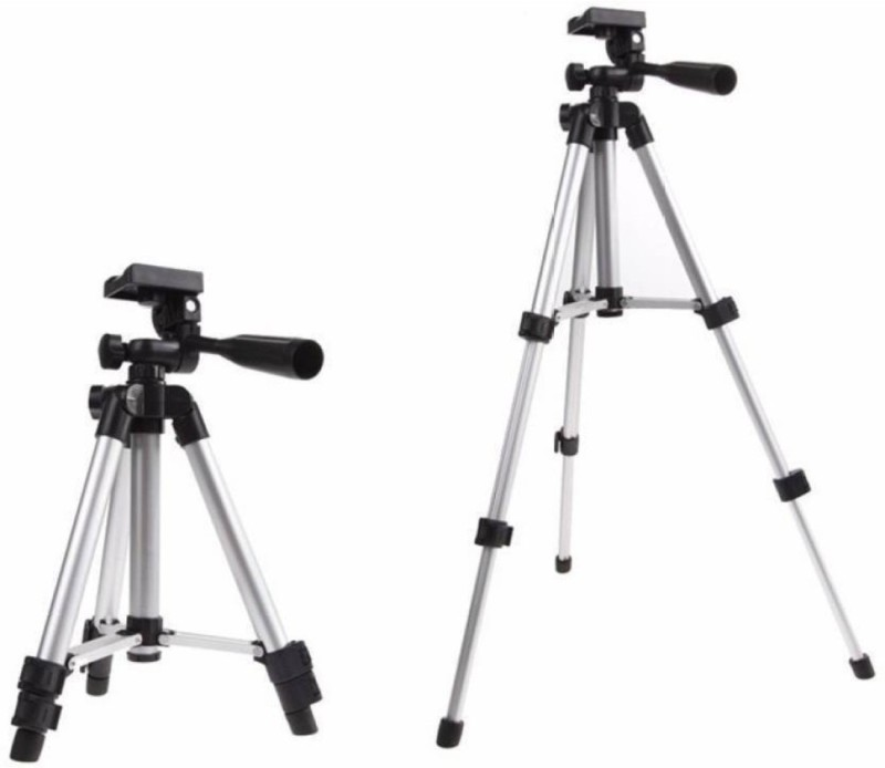 PRECLUSIVE Aluminum High Quality Lightweight Camera Stand With Three-Dimensional Head & Quick Release Plate For Video Cameras Foldable Camera Tripod With Mobile Clip Holder Tripod Tripod(Silver, Supports Up to 1200 g)