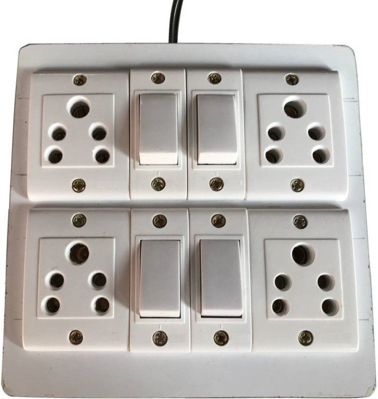 fozti Eletecric Wooden Extension Board 4  Socket Extension Boards(White)