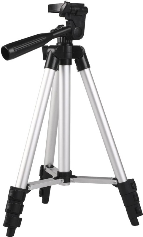 Shreevi 3110 Tripod 360° Horizontal 90 vertical rotation, Premium Quality 3-way head Professional Foldable Camera Tripod With Mobile Holder Clip Bracket, Fully Flexible Mount Cum Tripod, Stand with 3D Head & Quick Release Plate Tripod(Black, Silver, Supports Up to 1500 g)
