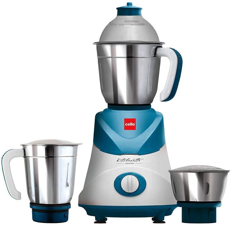 Cello GRIND-N-MIX SWIFT 500 Mixer Grinder(WHITE AND SKY BLUE, 3 Jars)