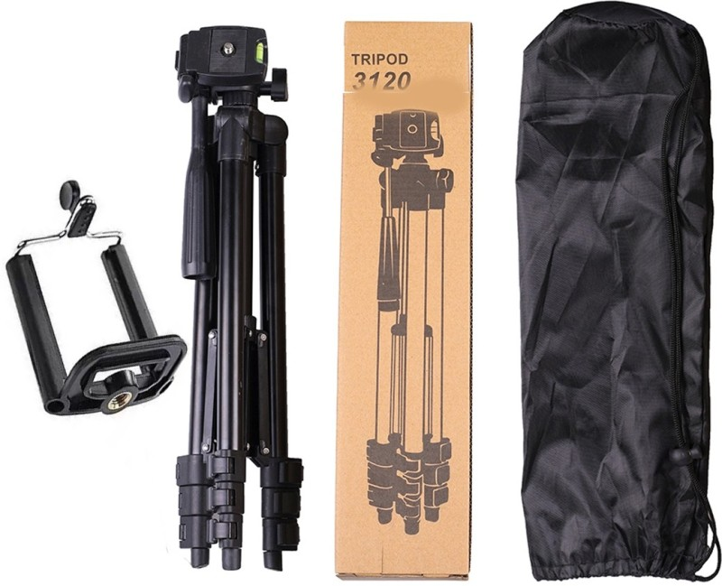 BUY SURETY New Collection 3120 Tripod Portable Aluminium Lightweight Camera Tripod(Black, Supports Up to 1500 g)