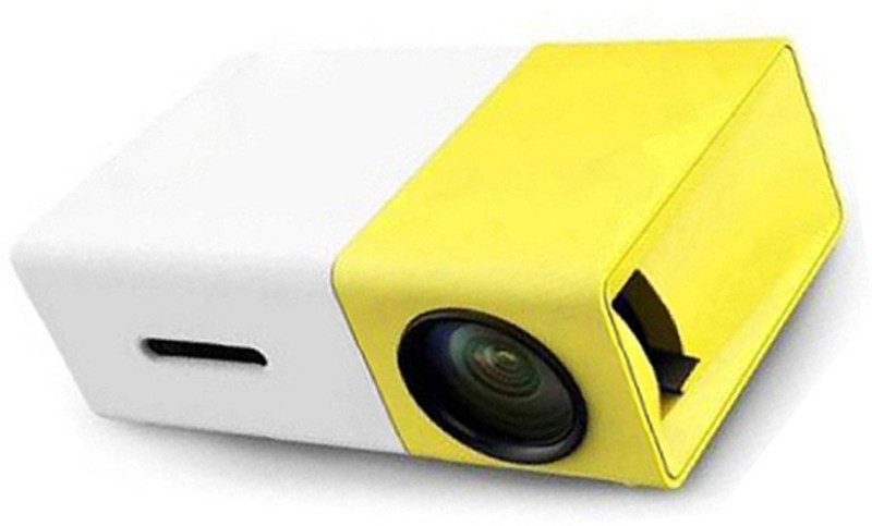 BIRATTY Portable LED Projector for Home, Office. HD Theater Support USB HDMI Mini 1080p EU Plug 600 lm LED Corded Mobiles Portable Projector(Yellow, White)