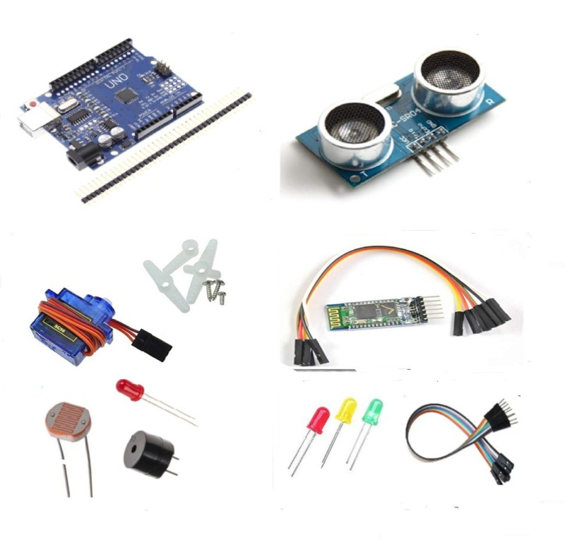 OLatus Arduino Uno SMD Kit with SG90 Servo Motor,Ultrasonic(HC-SR04)and HC-05 Wireless Bluetooth module Educational Electronic Hobby Kit