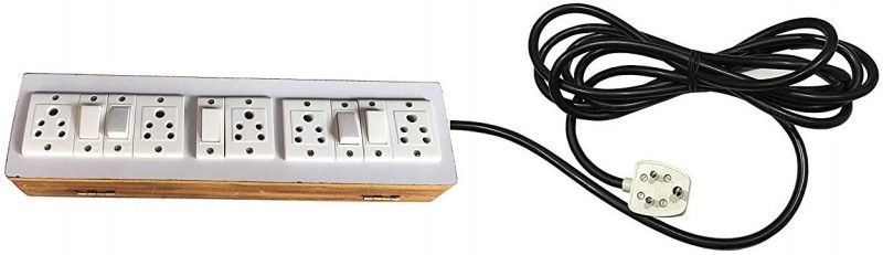 Hiken Wooden Extension Board 5  Socket Extension Boards(Brown)