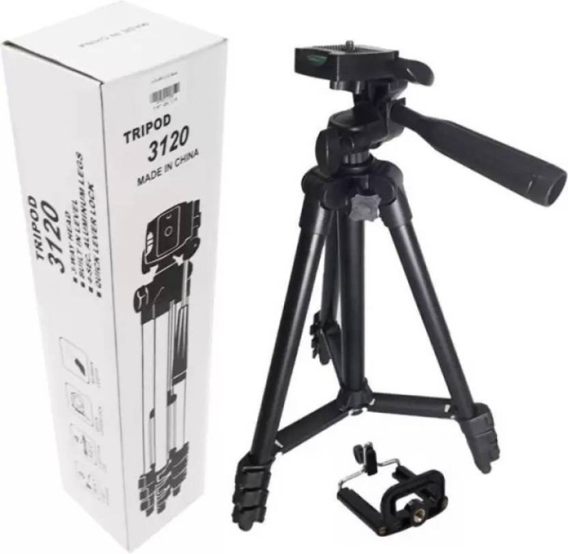 NICK JONES Tripod 3120 - Universal Tripod Portable & Foldable Camera - Mobile Tripod With Mobile Clip Holder Bracket   Fully Flexible Mount Cum Tripod   Stand with Three-dimensional Head & Quick Release Plate + Black Carry Bag for Cameras   Camcorders Tripod (Black, Supports Up to 1500 g) Tripod(Bla