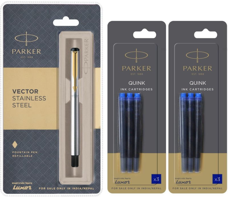 Parker Vector Stainless Steel GT Fountain Pen with 6 Blue Quink Ink Cartridge(Pack of 3)