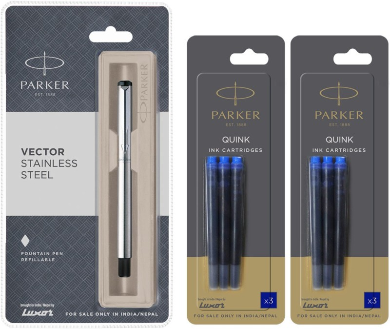 Parker Vector Stainless Steel CT Fountain Pen with 6 Blue Quink Ink Cartridge(Pack of 3)
