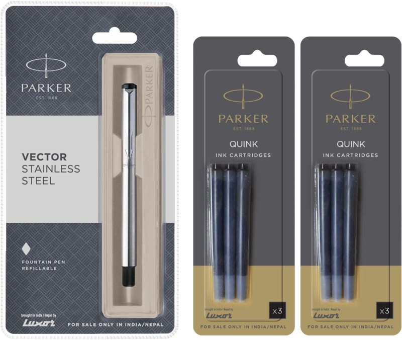 Parker Vector Stainless Steel CT Fountain Pen with 6 Black Quink Ink Cartridge(Pack of 3)