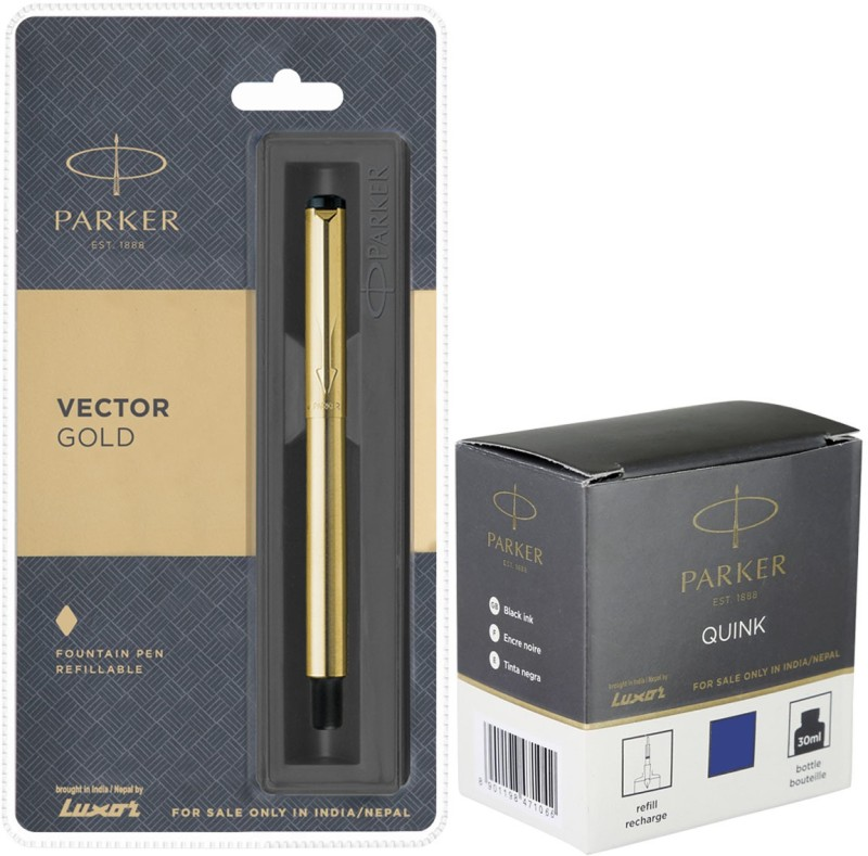 Parker Vector Gold GT Fountain Pen with Blue Quink Ink Bottle(Pack of 2)
