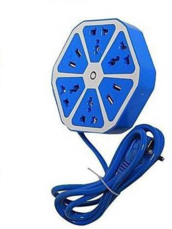 Kanha Ent Heavy Duty Hexagon Extension Cord with 4 USB Port & 4 Socket with 1.8 Meter Wire 4  Socket Extension Boards(Multicolor)