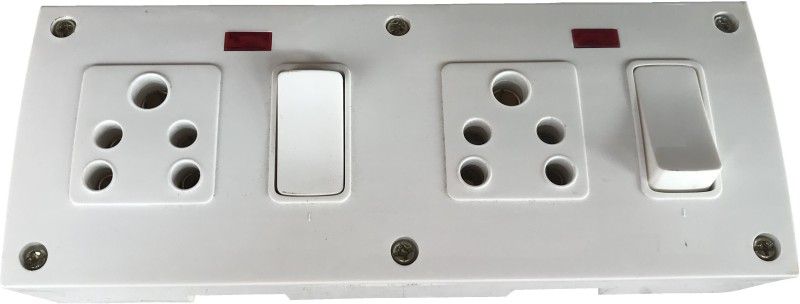 Tinax UPC Extension Board 2 Switches,2 Socket & 4 Metres Wire 2  Socket Extension Boards(White)