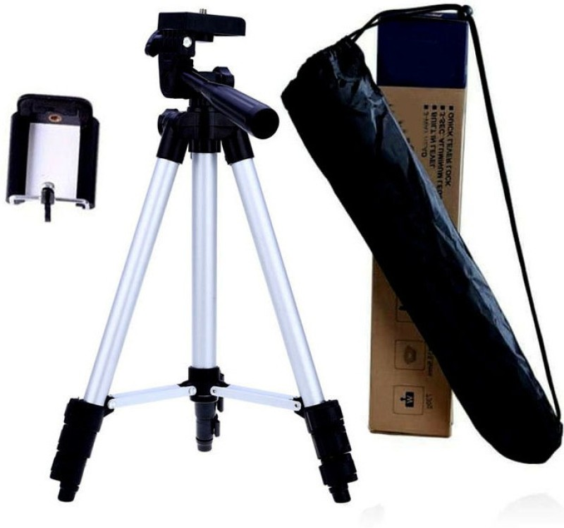 BUY SURETY High Quality Aluminium Camera Stand Professional Portable Adjustable Camera Tripod 3110 Tripod stand Holder for Tik Tok Video, Digital & Action Cameras Best Use for Make Videos on Snapchat, YouTube Digital Camera Tripod with Mobile Clip Holder Screw 360 Degree 3-Dimensional Head Foldable