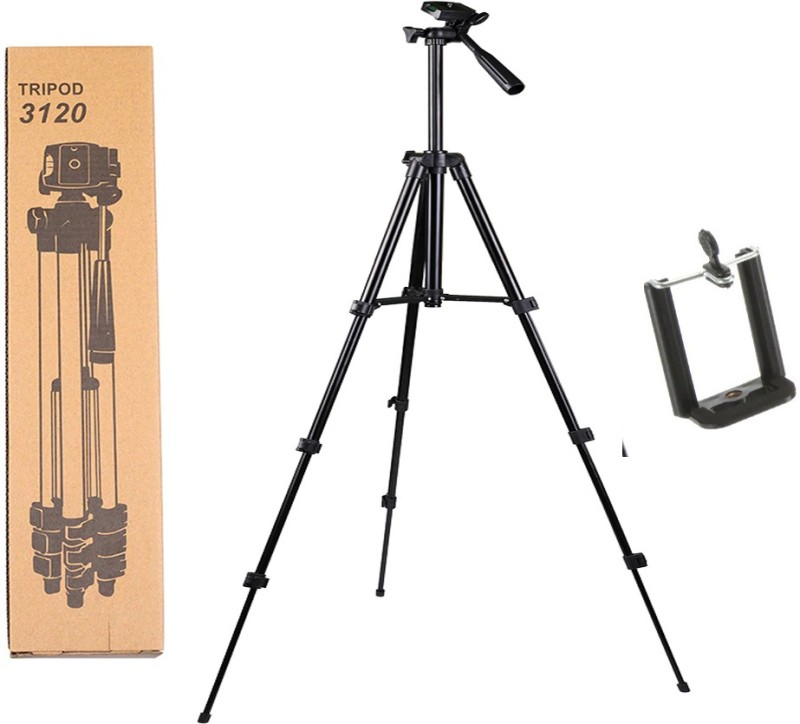 Blue Birds High Quality 3120 Portable Adjustable Camera Stand & Quick Release Plate for Video Cameras and Mobile Holder Compatible with All Smartphones Tripod(Black, Supports Up to 1500 g)