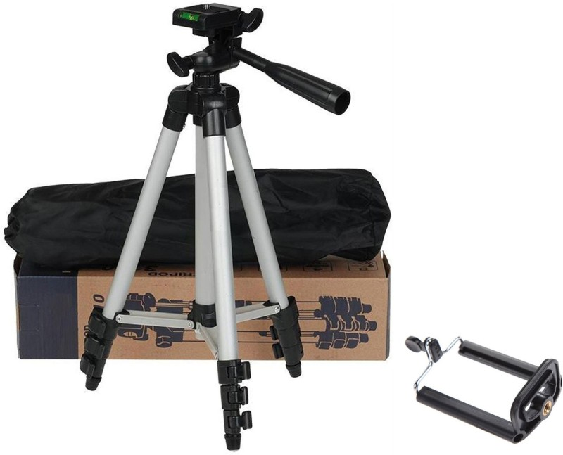 casadomani Tripod-3110 Adjustable Aluminum High Quality Lightweight Camera Stand With Three-Dimensional Head & Quick Release Plate For Video Cameras, Tripod With Mobile Clip Holder Tripod(Silver & Black, Supports Up to 1500)
