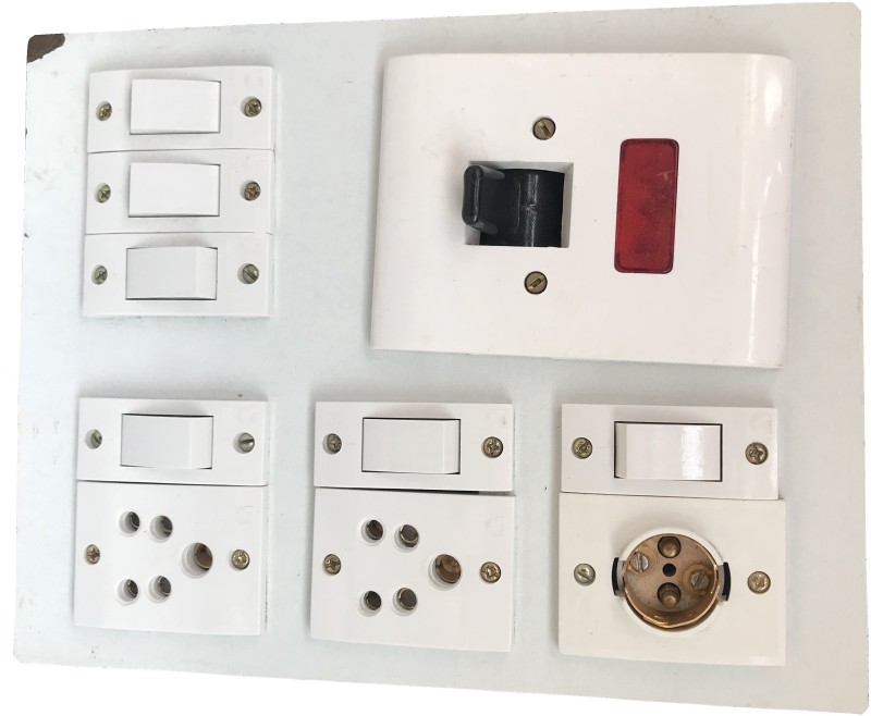 Hiken Wooden Electric Swtich Board (2 Sockets,6 Switches,1 Bulb Holder,1 DP) 2  Socket Extension Boards(White)