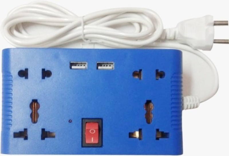 CANDLE MINI 4 WAY+2USB 4  Socket Extension Boards(White, Blue)
