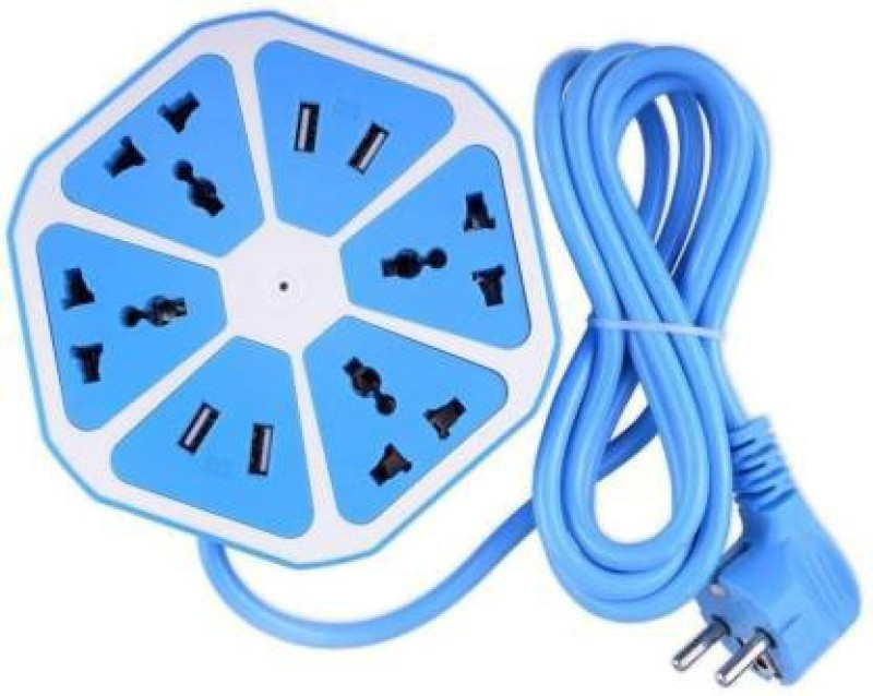 Gstar Fashion Hexagon Shape Socket Extension Board with 4 USB 2.0 Amp Charging Points 4 Socket Surge Protector 4  Socket Extension Boards(Blue)