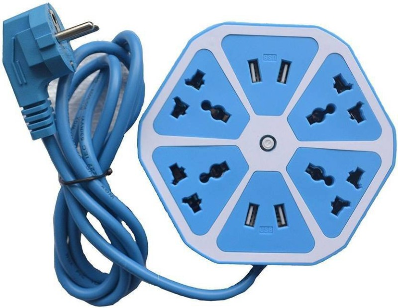 ABC WARRIORS Hexagon Socket Extension board with 4 USB 2.0Amp charging point -- PowerCube Socket EU Plug 4 Outlets+4 USB Ports Adapter with 1.7m Cable Extension Adapter Multi Switched Socket NF02 4  Socket Extension Boards(Blue)
